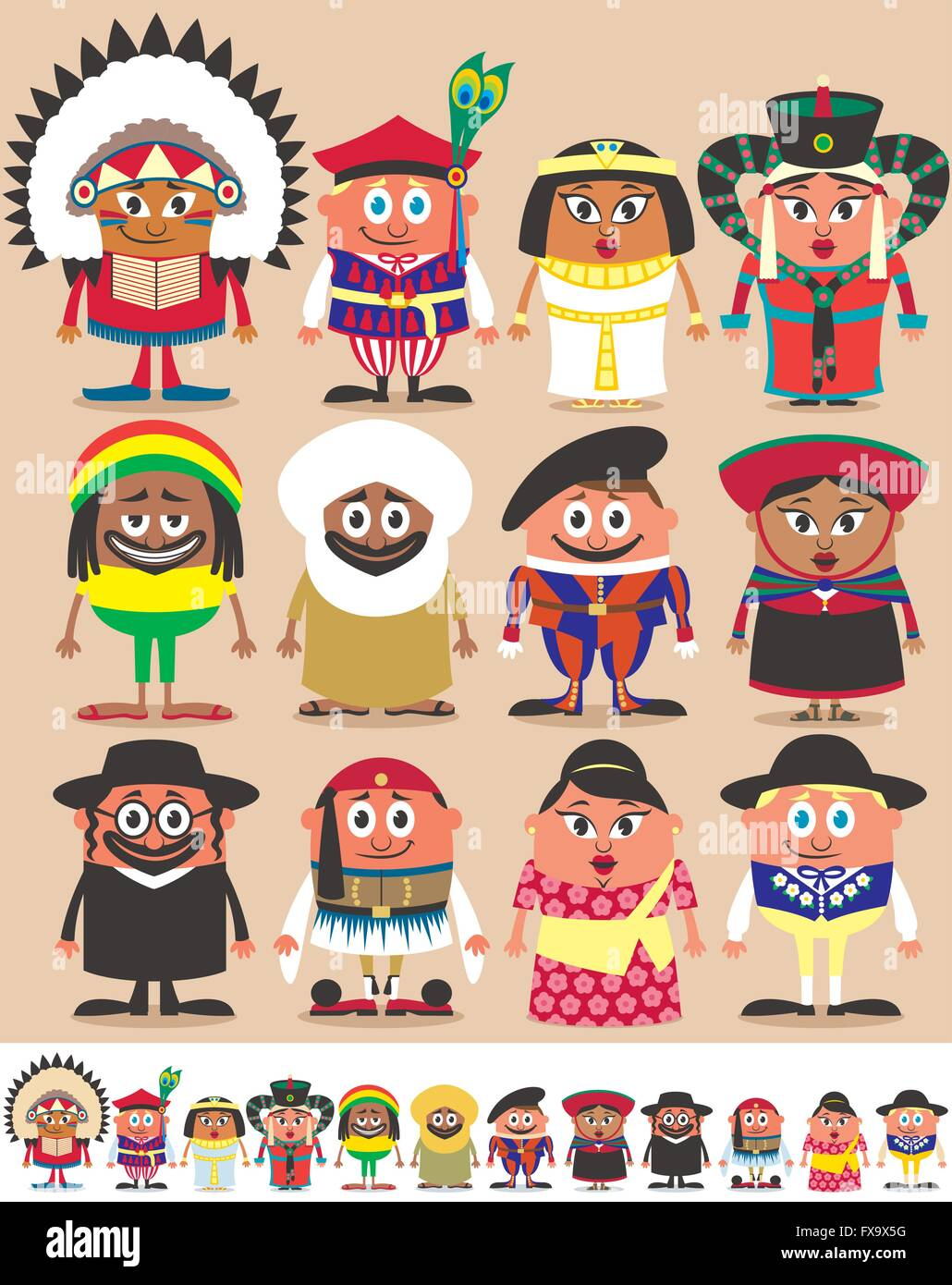 Set of 12 characters dressed in different national costumes. Each character is in 2 color versions depending on - Stock Vector