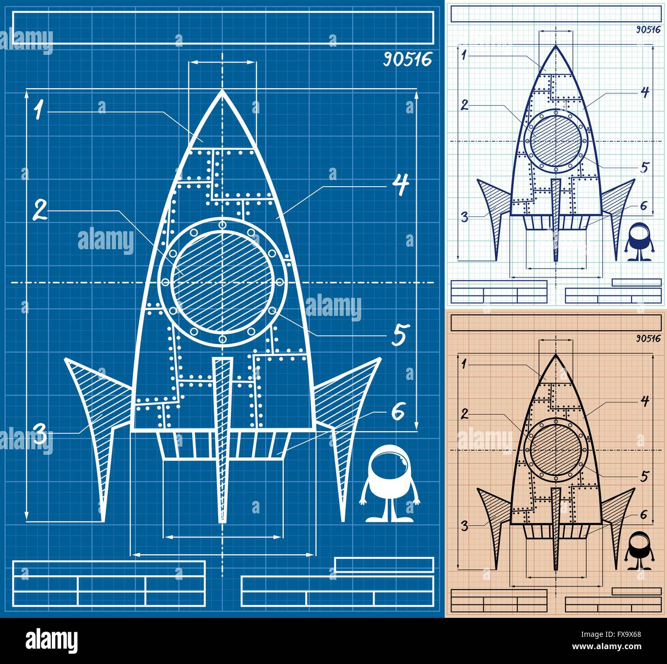 Cartoon blueprint of rocket ship in 3 versions no transparency and cartoon blueprint of rocket ship in 3 versions no transparency and gradients used malvernweather Gallery