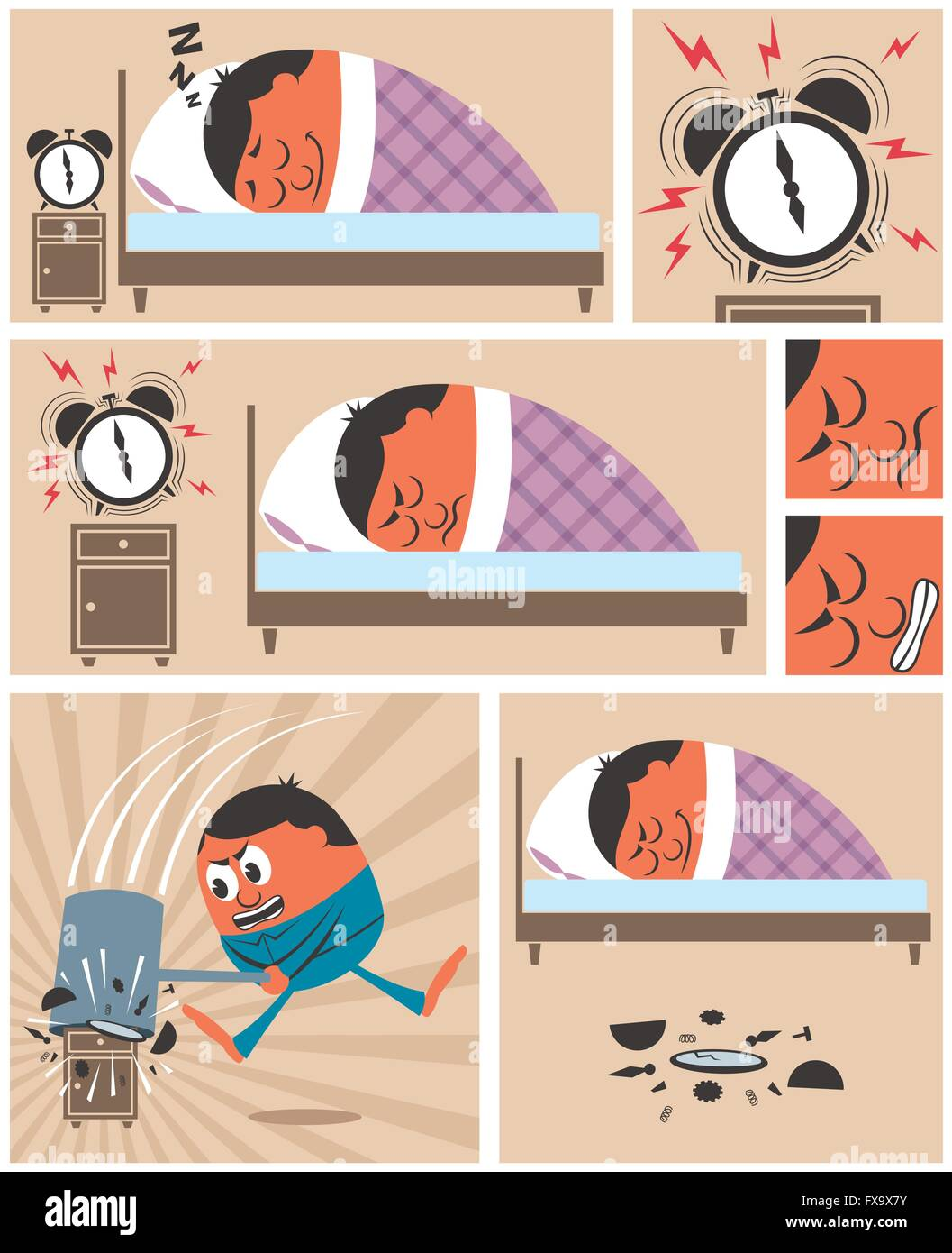 Short story about man having difficulty to wake up in the morning. No transparency and gradients used. - Stock Vector