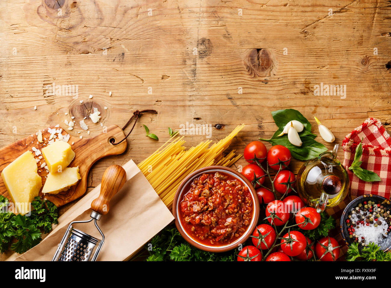Italian Food Background With Spaghetti Bolognese