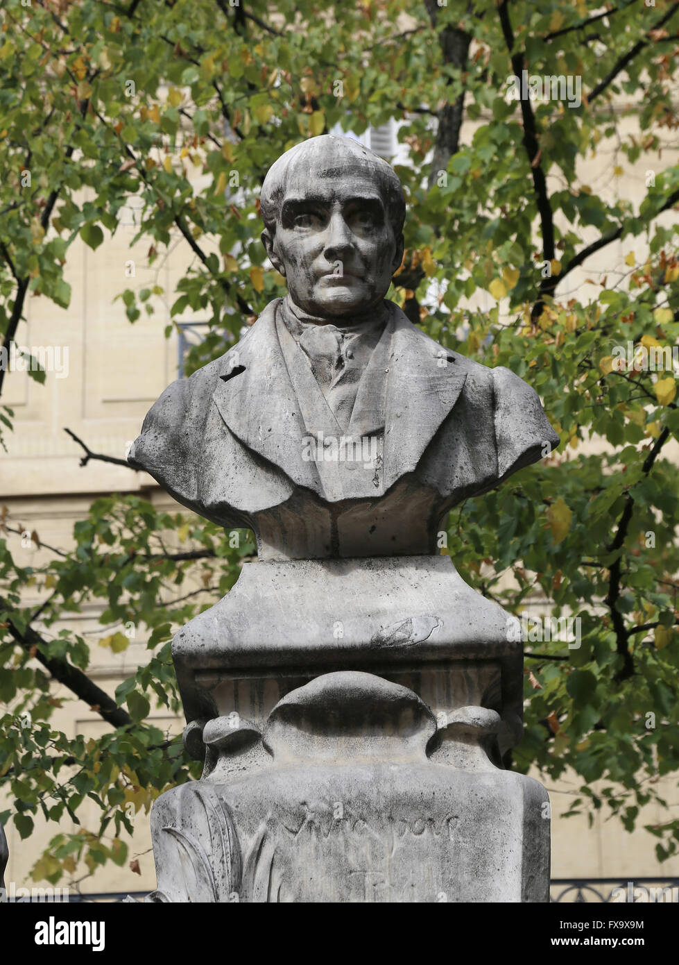 Bust of Auguste Compte (1789-1857). By Jean-Antoine Injalbert, 1902.  Place Sorbonne. Paris. France. - Stock Image