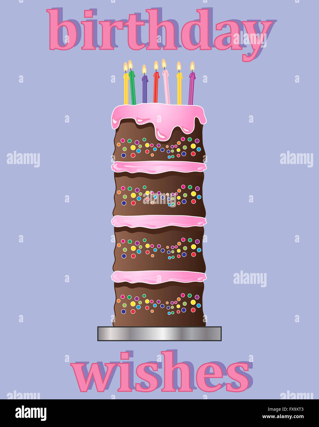 an illustration of a birthday greeting card design with multi layered chocolate cake decorated with pink frosting - Stock Image