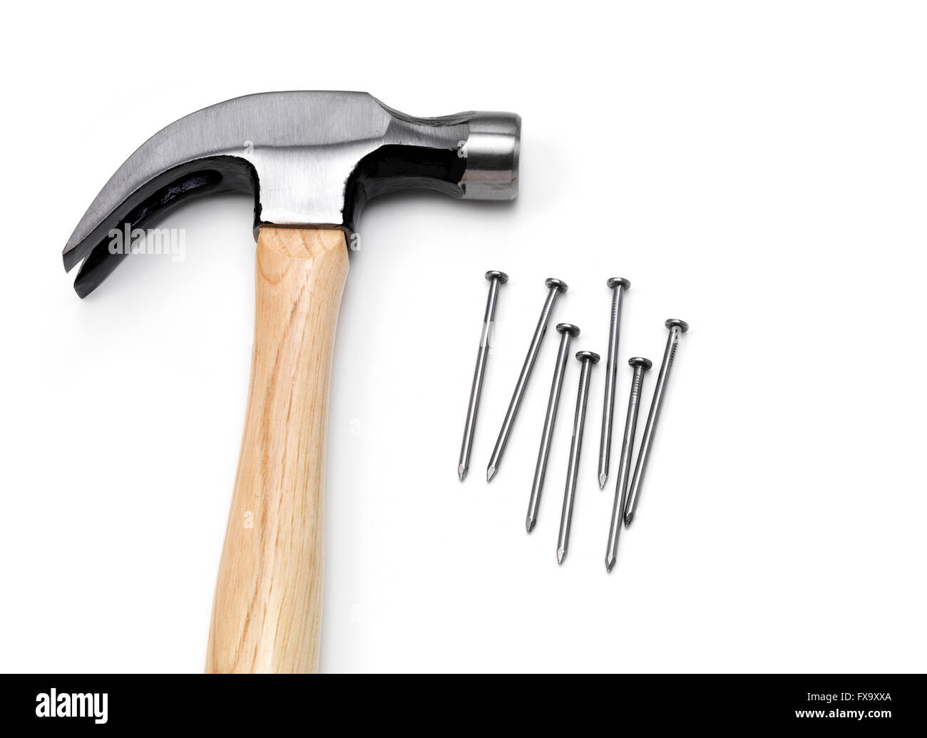 Isolated Hammer with Steel nail - Stock Image