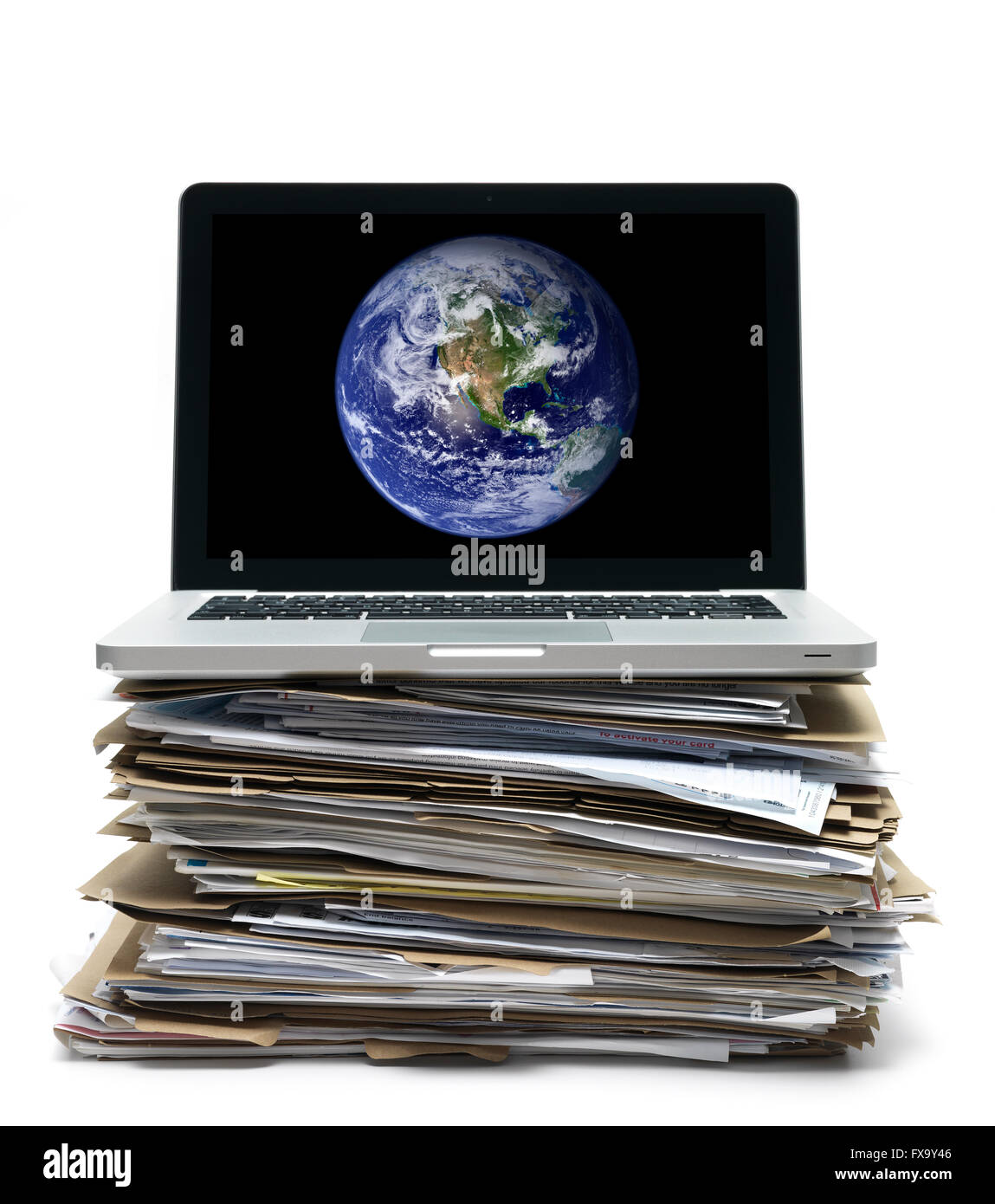 Paperwork with laptop - Stock Image