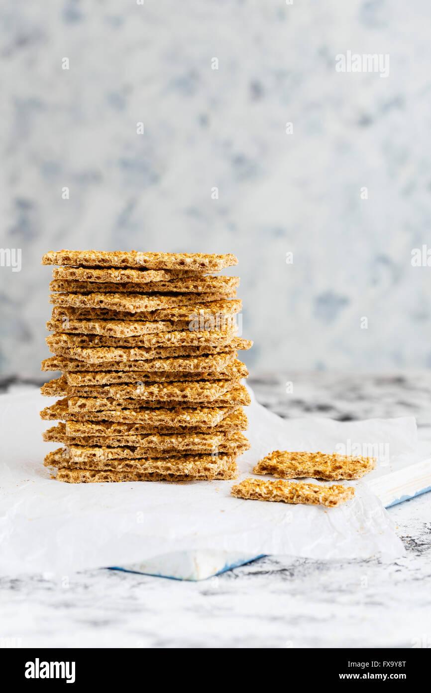 Stack of Crispbread - Stock Image