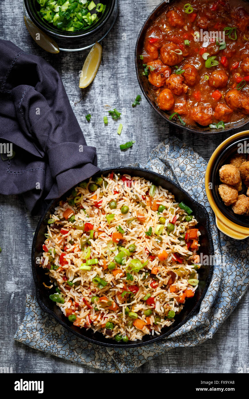 Vegetable Fried Rice with Soyabean Manchurian ( An Indo Chinese Cuisine) - Stock Image