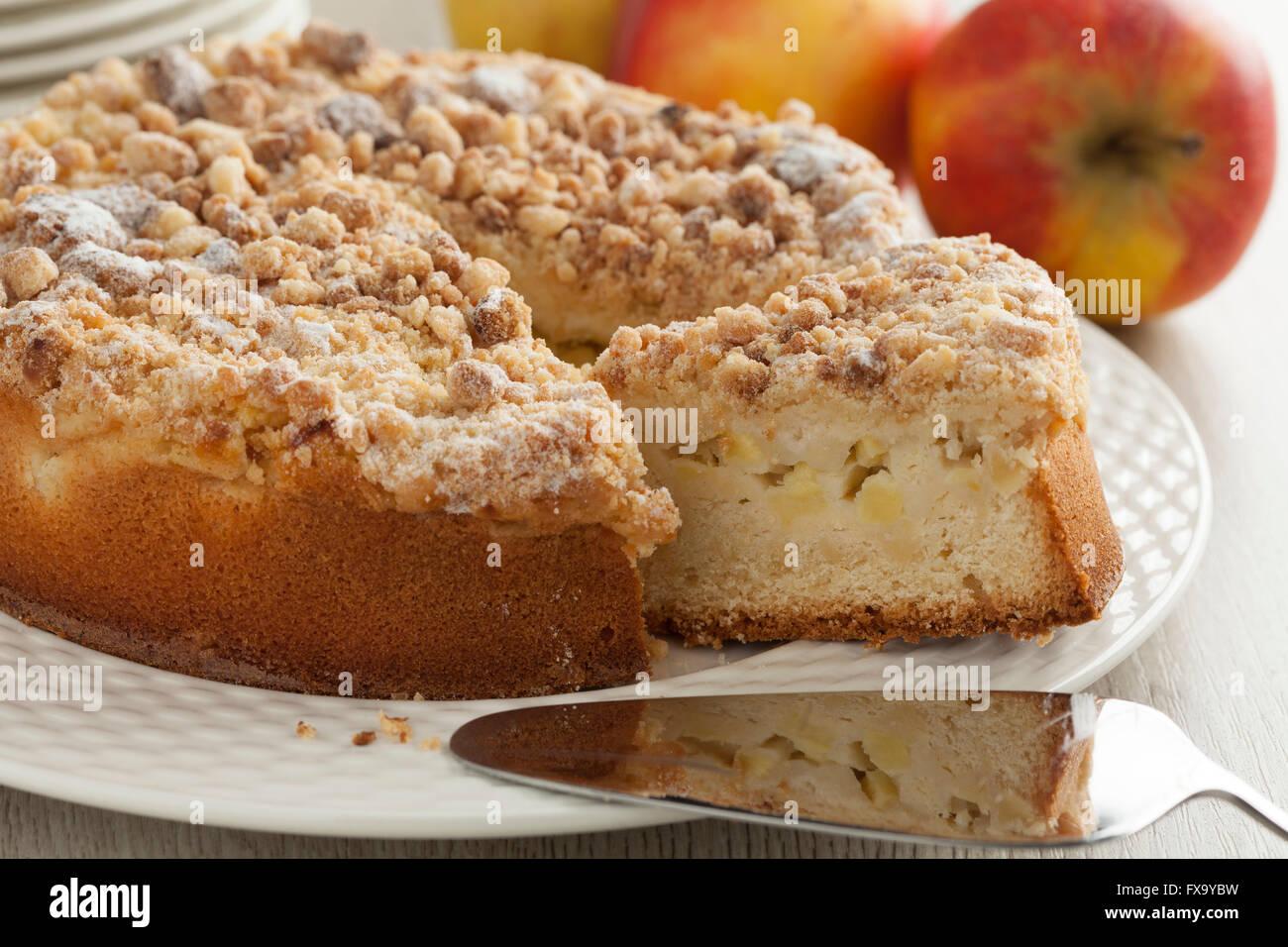 Fresh baked homemade apple cake - Stock Image