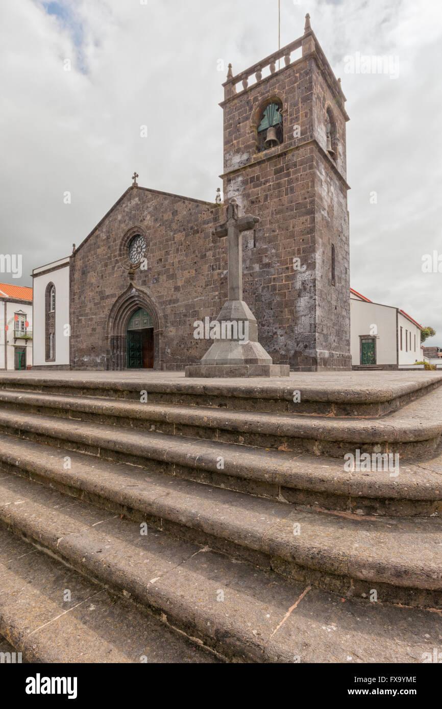 Church of Sao Miguel Arcanjo at Vila Franca do Campo, Sao Miguel, Autonomous Region of the Azores - Stock Image