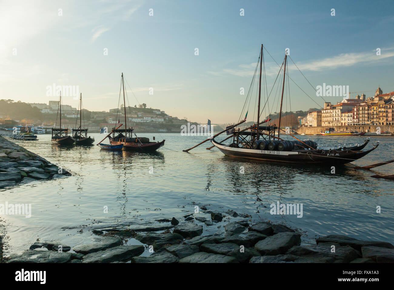 Evening on river Douro in Oporto (Porto), Portugal. - Stock Image