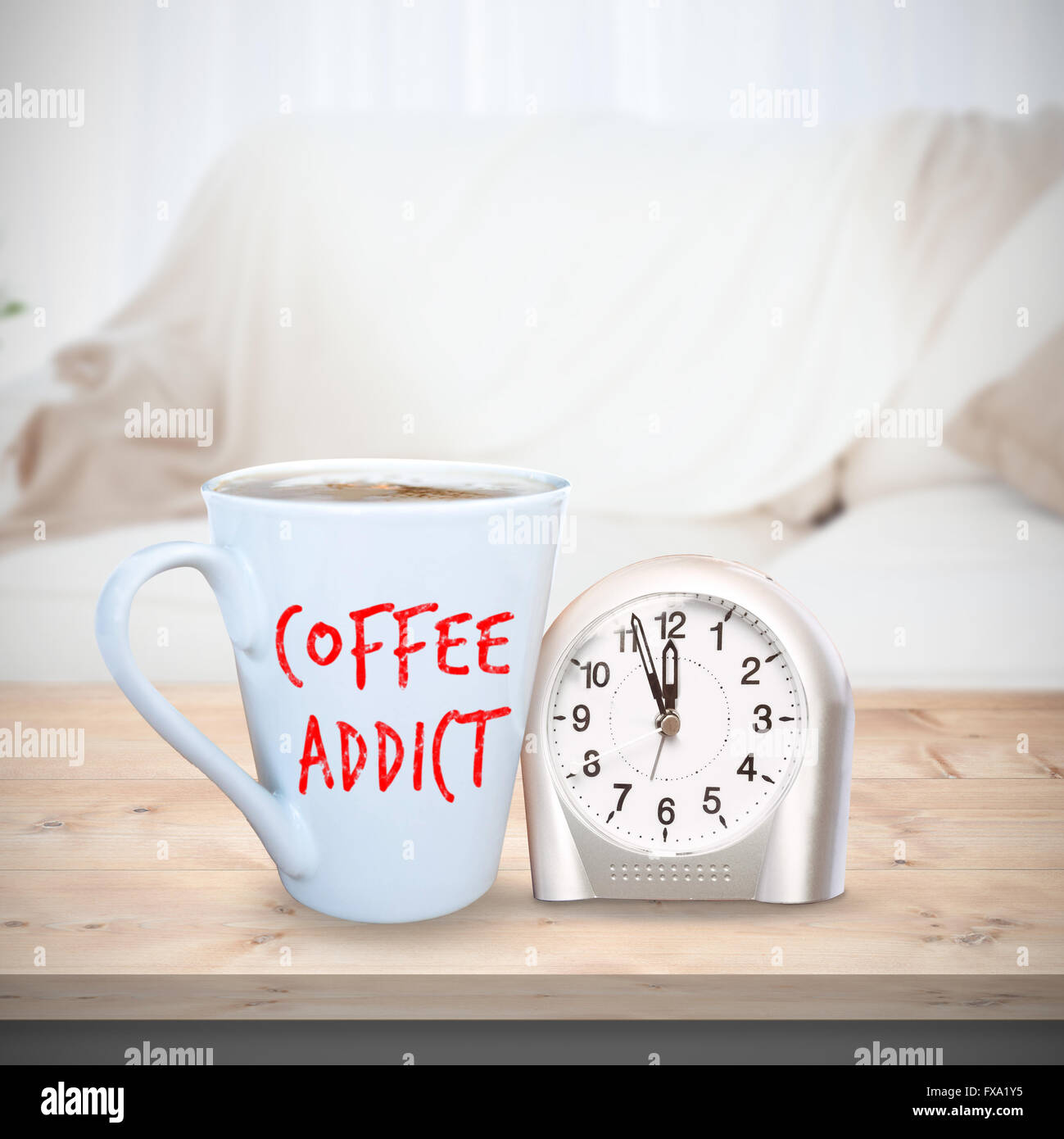Composite image of coffee addict - Stock Image