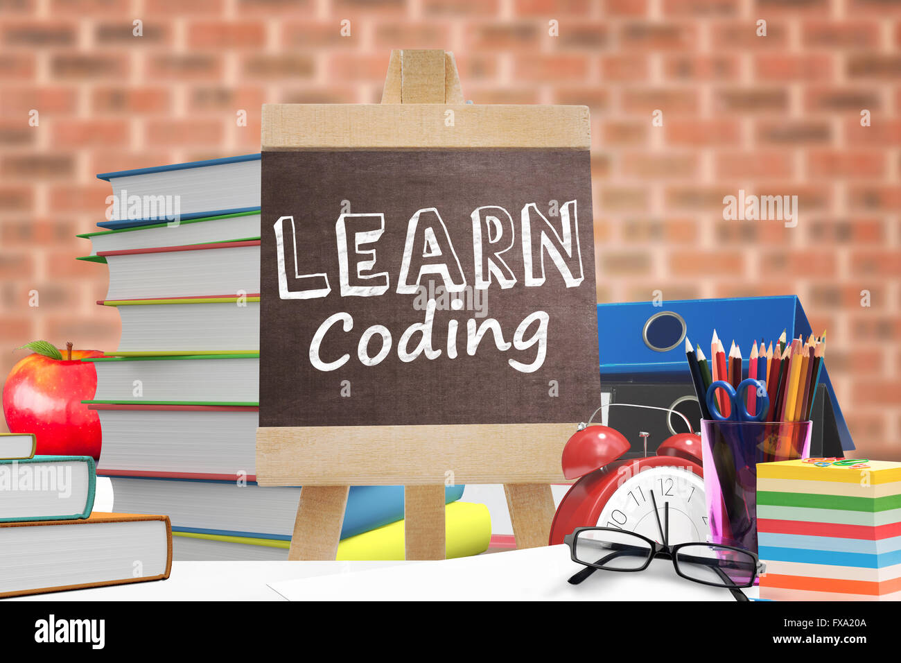 Composite image of learn coding - Stock Image