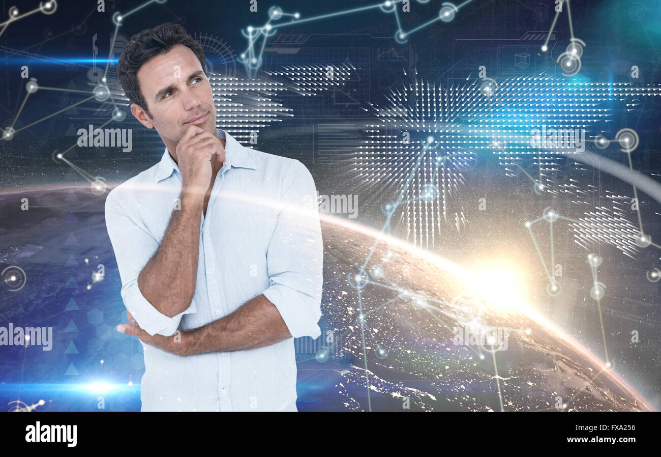 Composite image of thoughtful man in casuals with hand on chin - Stock Image