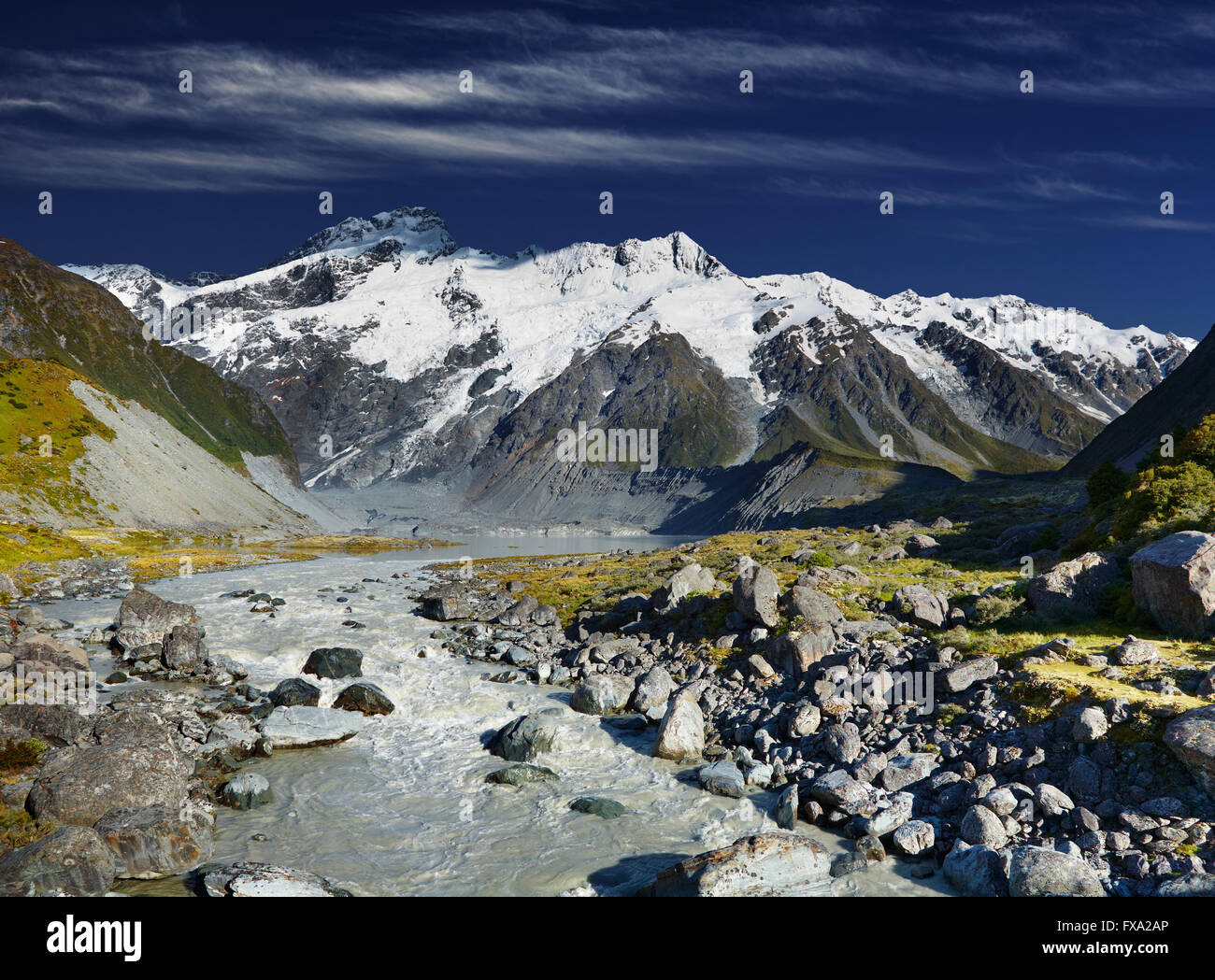 Sunrise in Southern Alps, New Zealand - Stock Image