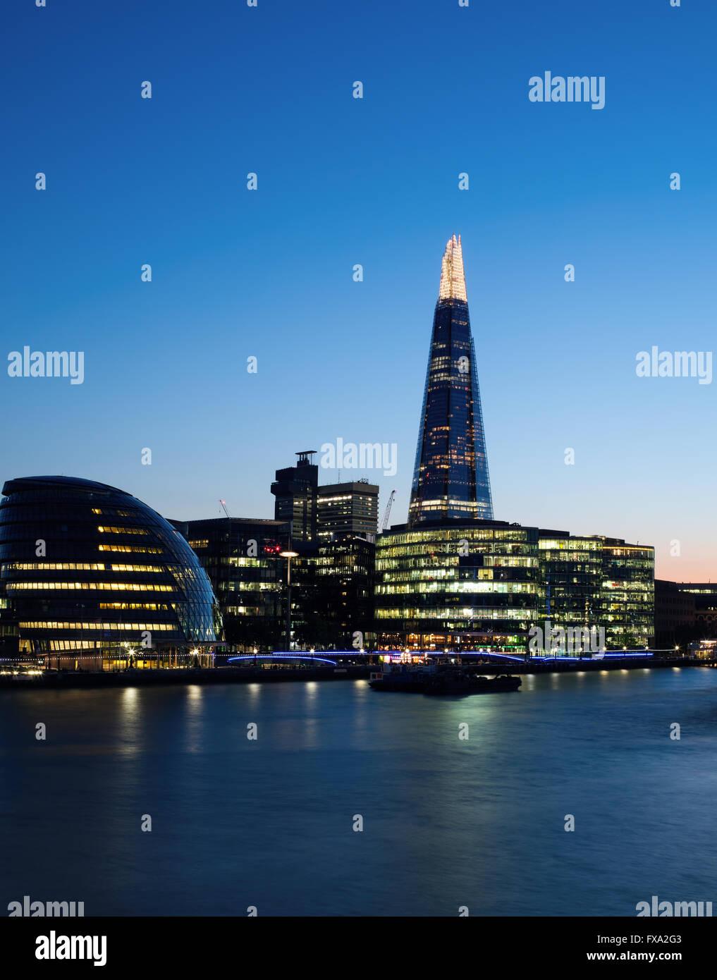 London blue hour sky over the Shard - Stock Image