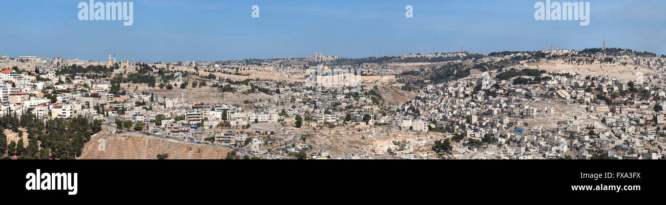 Panorama of Jerusalem with Temple Mount in the center - Stock Image