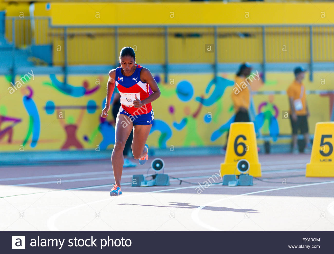 Ormara Durand starting technique. She is a Cuban paralympic athlete.Athletics competition and medals ceremonies - Stock Image