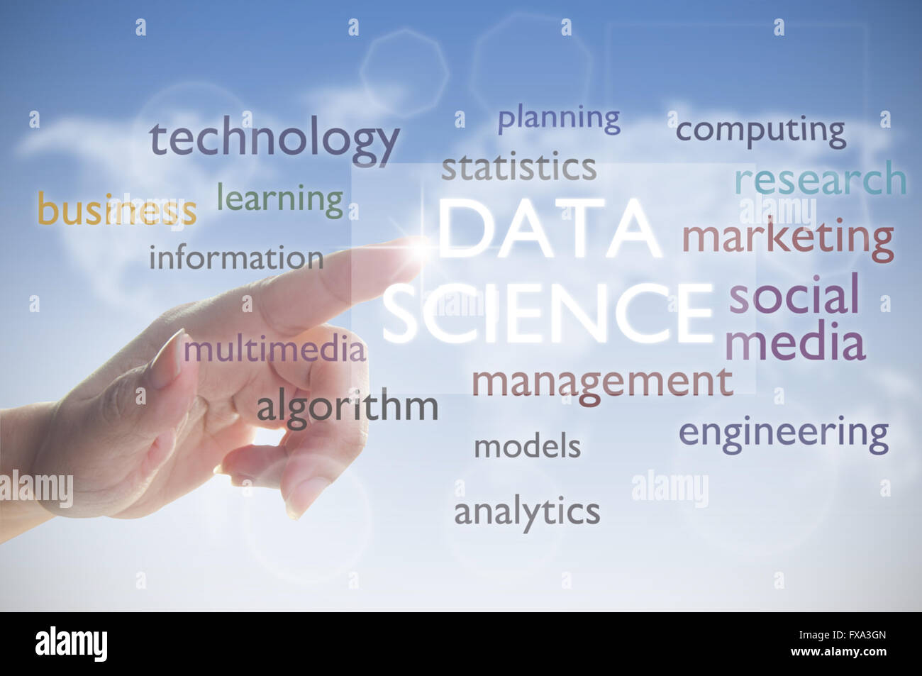Data science word cloud - Stock Image