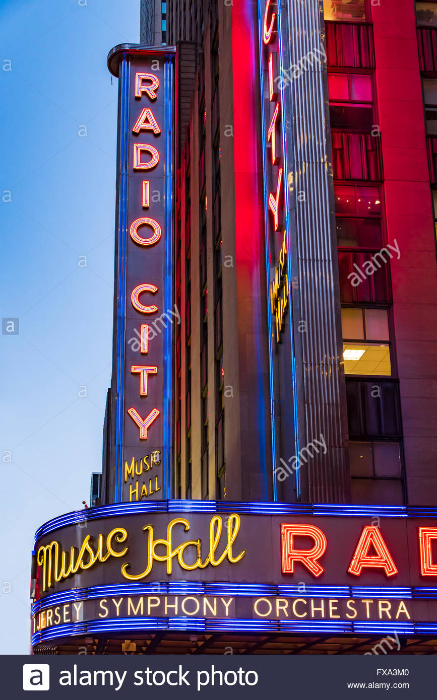 Radio City music hall, located at Rockefeller Center. Its nickname is the Showplace of the Nation, one of New York - Stock Image