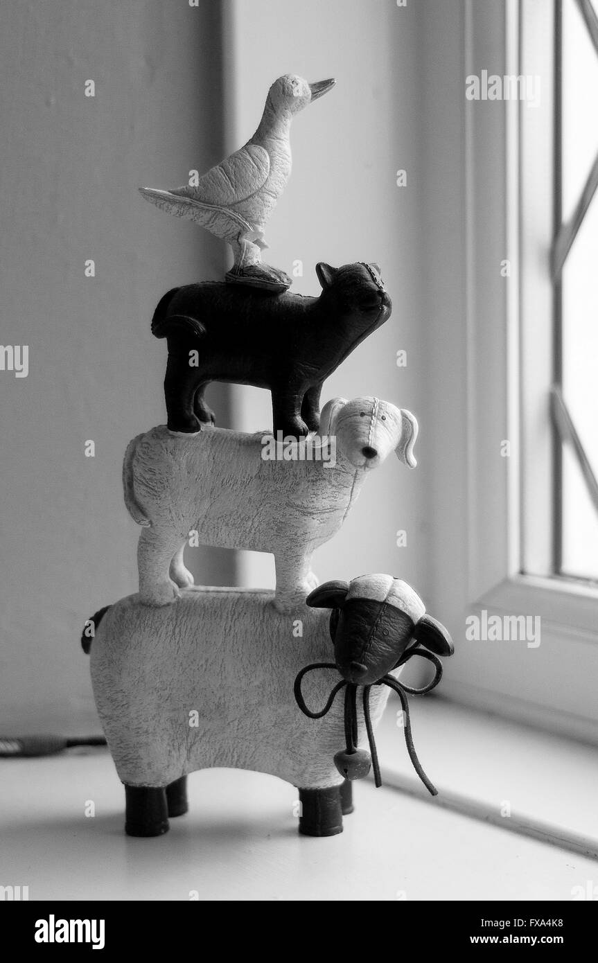 Farm animal ornaments, Black and White - Stock Image