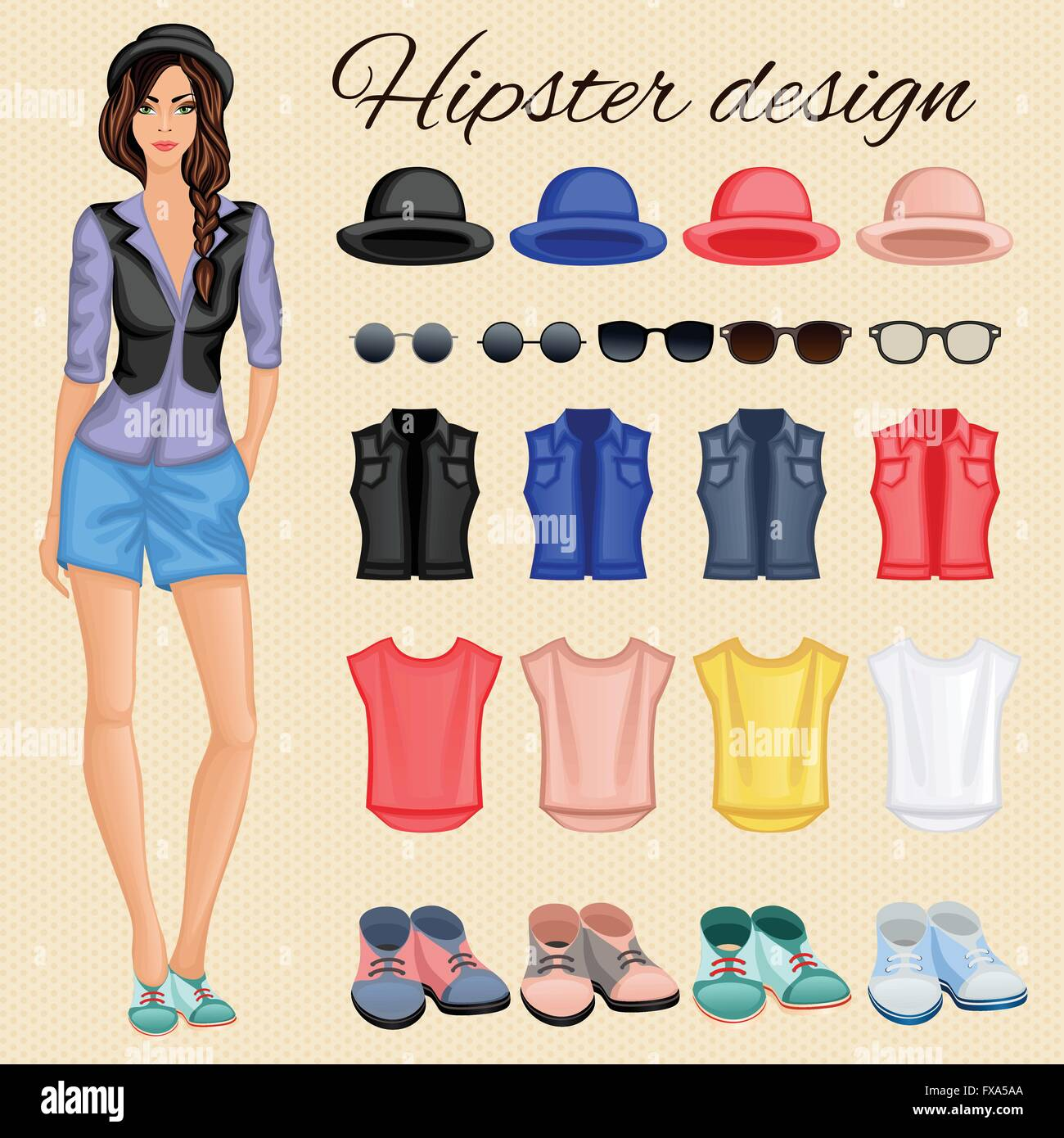 Hipster girl elements - Stock Vector