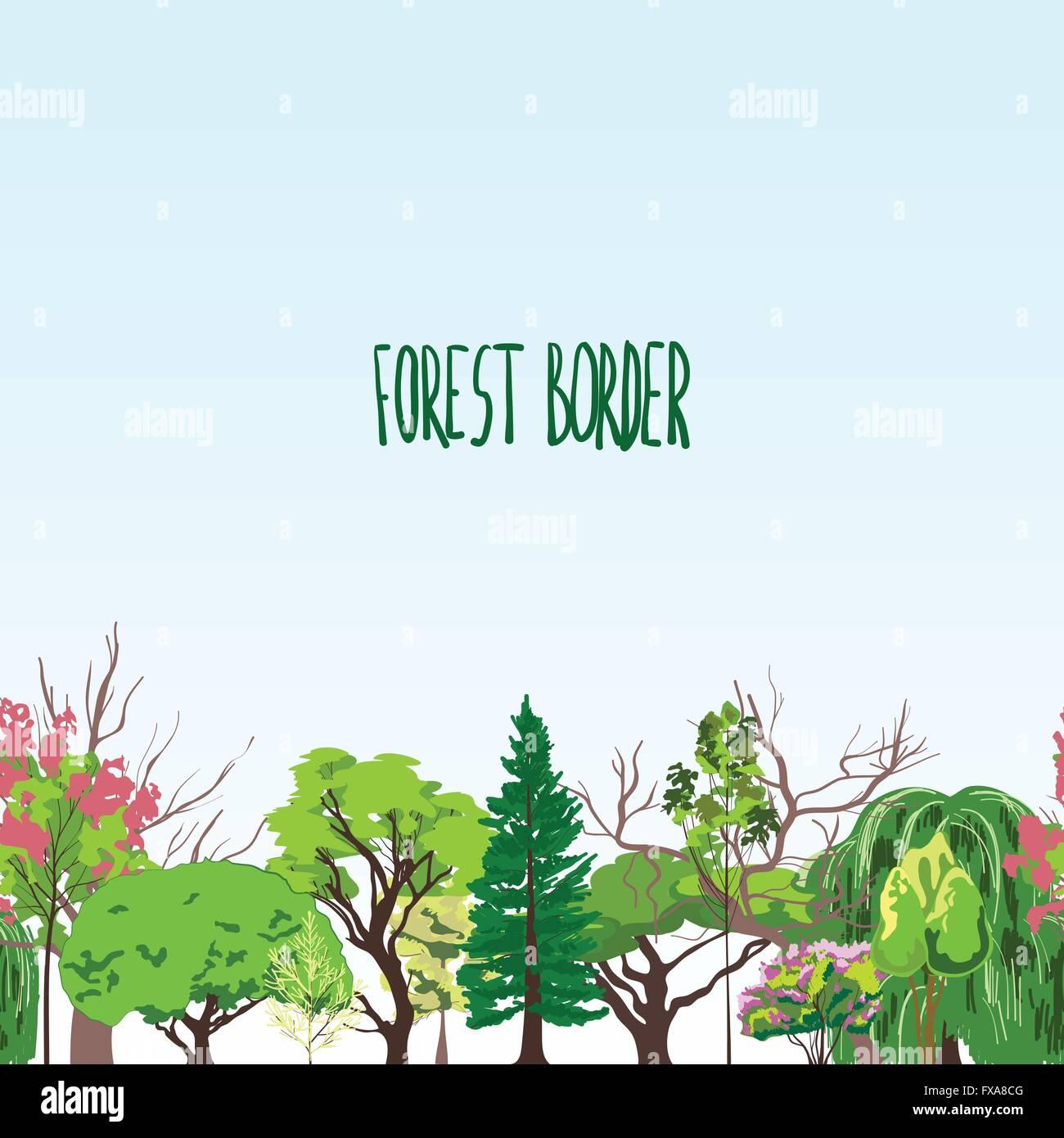 Fotest border trees sketch - Stock Vector