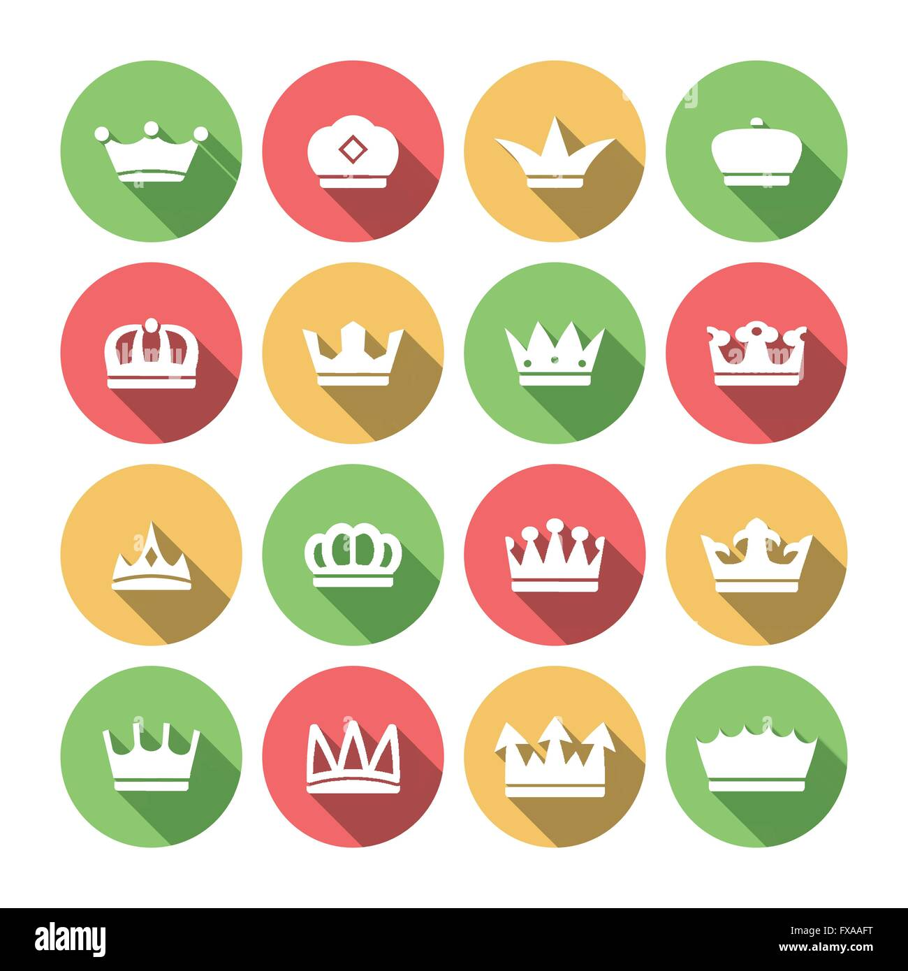 Crown Icons Set - Stock Image