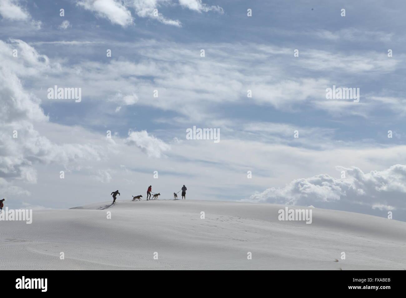 family at White sands national Monument Alamogordo New Mexico - Stock Image