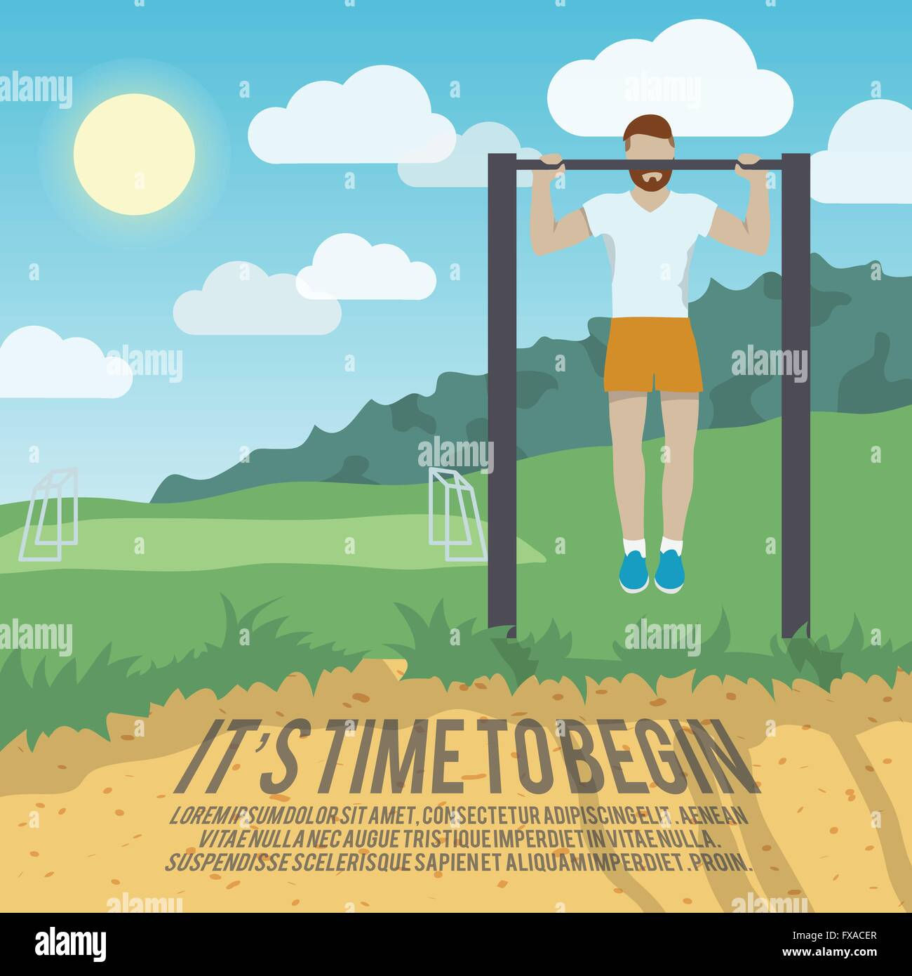 Man on pull-up bar fitness poster - Stock Image