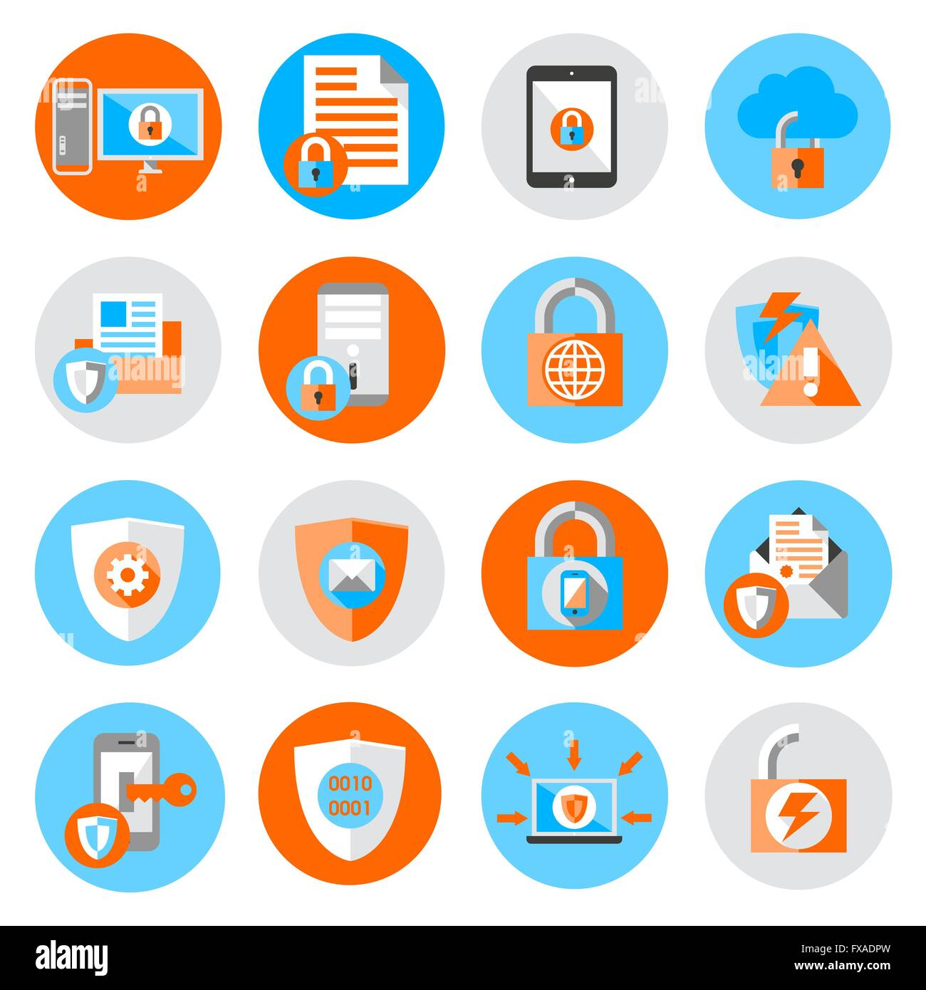 Data Protection Security Icons Stock Vector Art