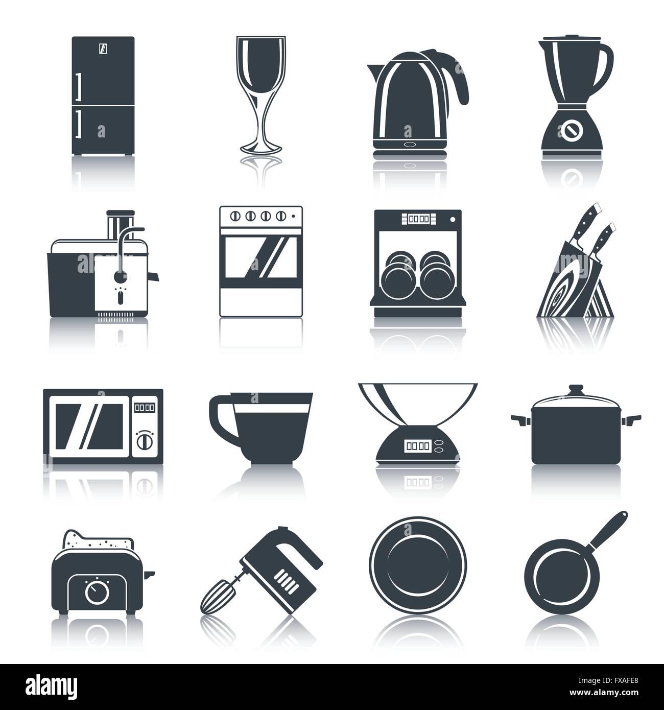 Kitchen Appliances Icons Black Stock Vector Art Illustration