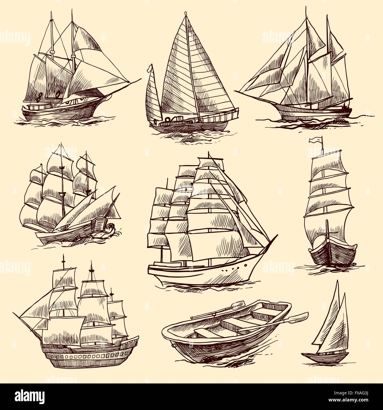 Ships and boats sketch set - Stock Vector