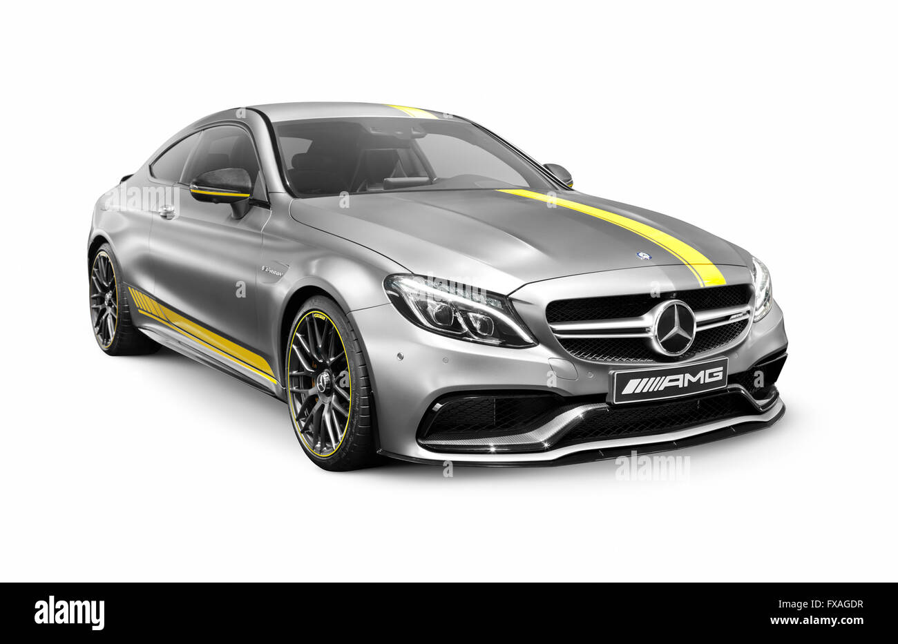 Silver 2016 Mercedes‑AMG C 63 S luxury sports car - Stock Image