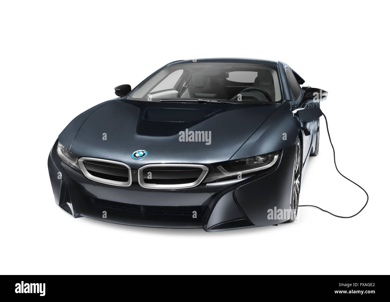 Black 2016 BMW I8 Plug In Hybrid Electric Luxury Sports Car With Charging Cord