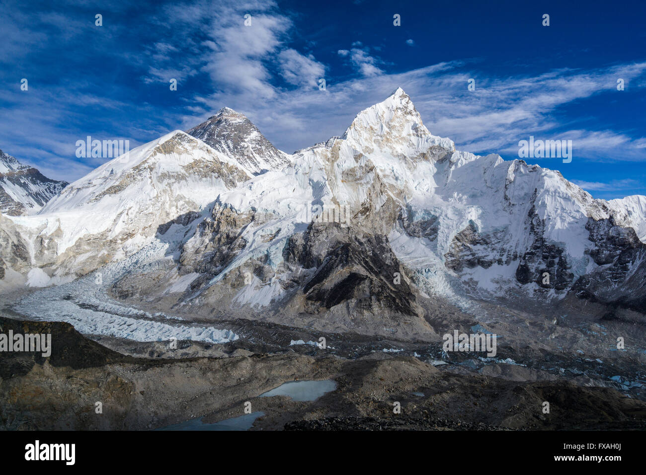 The mountain massifs around Mt. Everest (8848m) and Nuptse (7861m) as seen from Kala Pathar (5545m), Gorakshep, - Stock Image