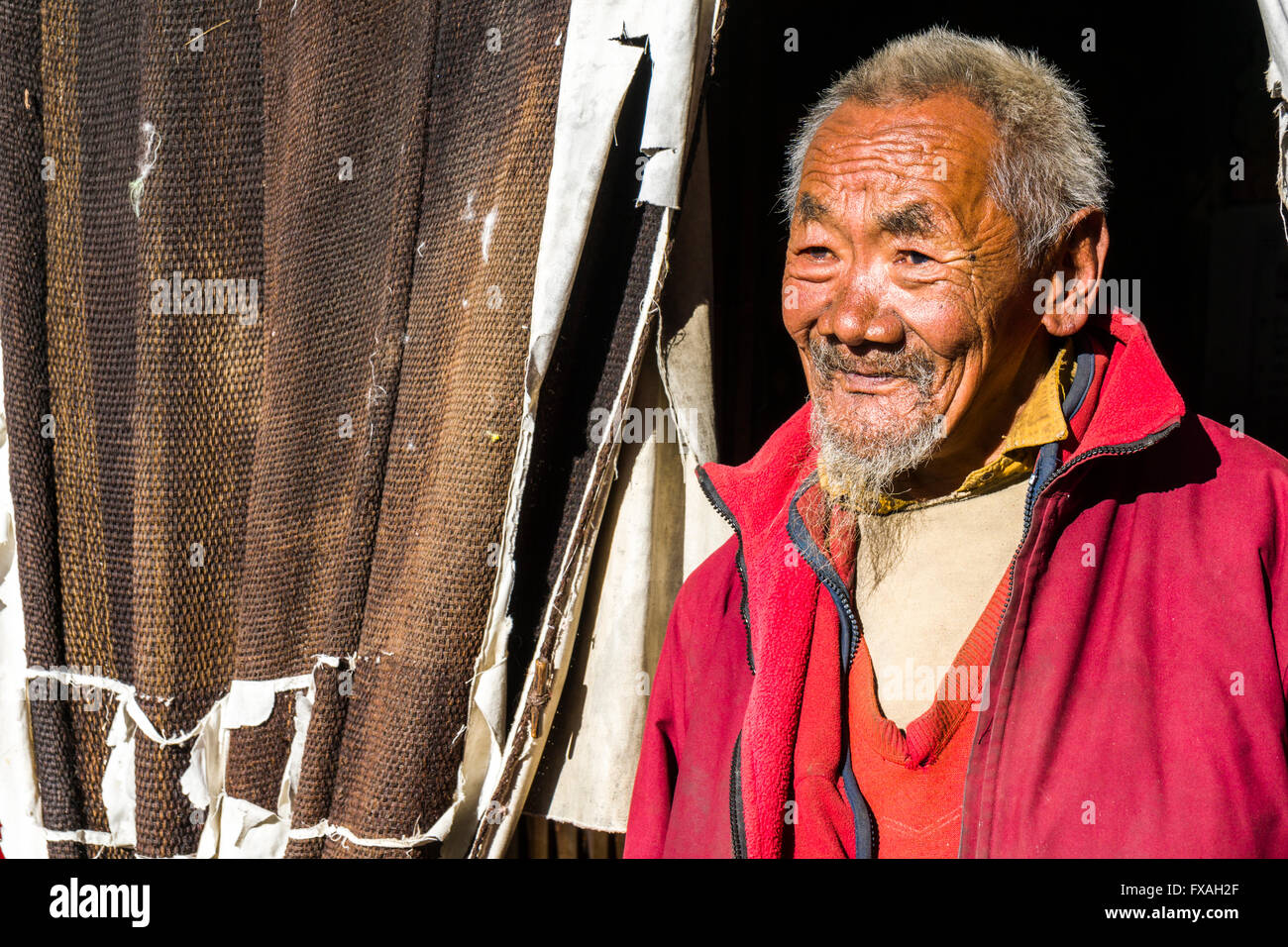 Portrait of an old monk in front of a door of the Thame Gompa monastery, Thame, Solo Khumbu, Nepal - Stock Image