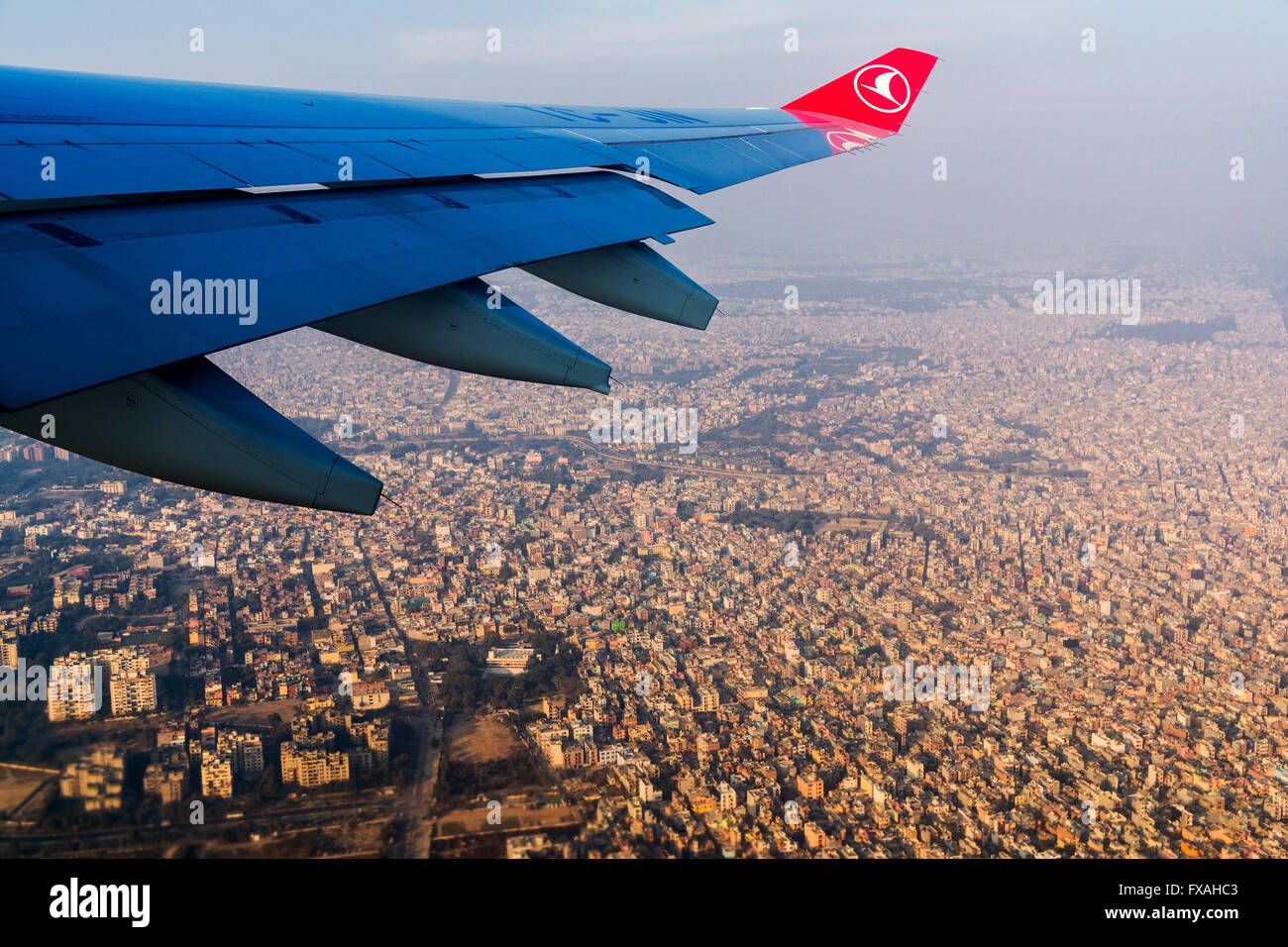 Aerial view of the city from airoplane, New Delhi, India - Stock Image