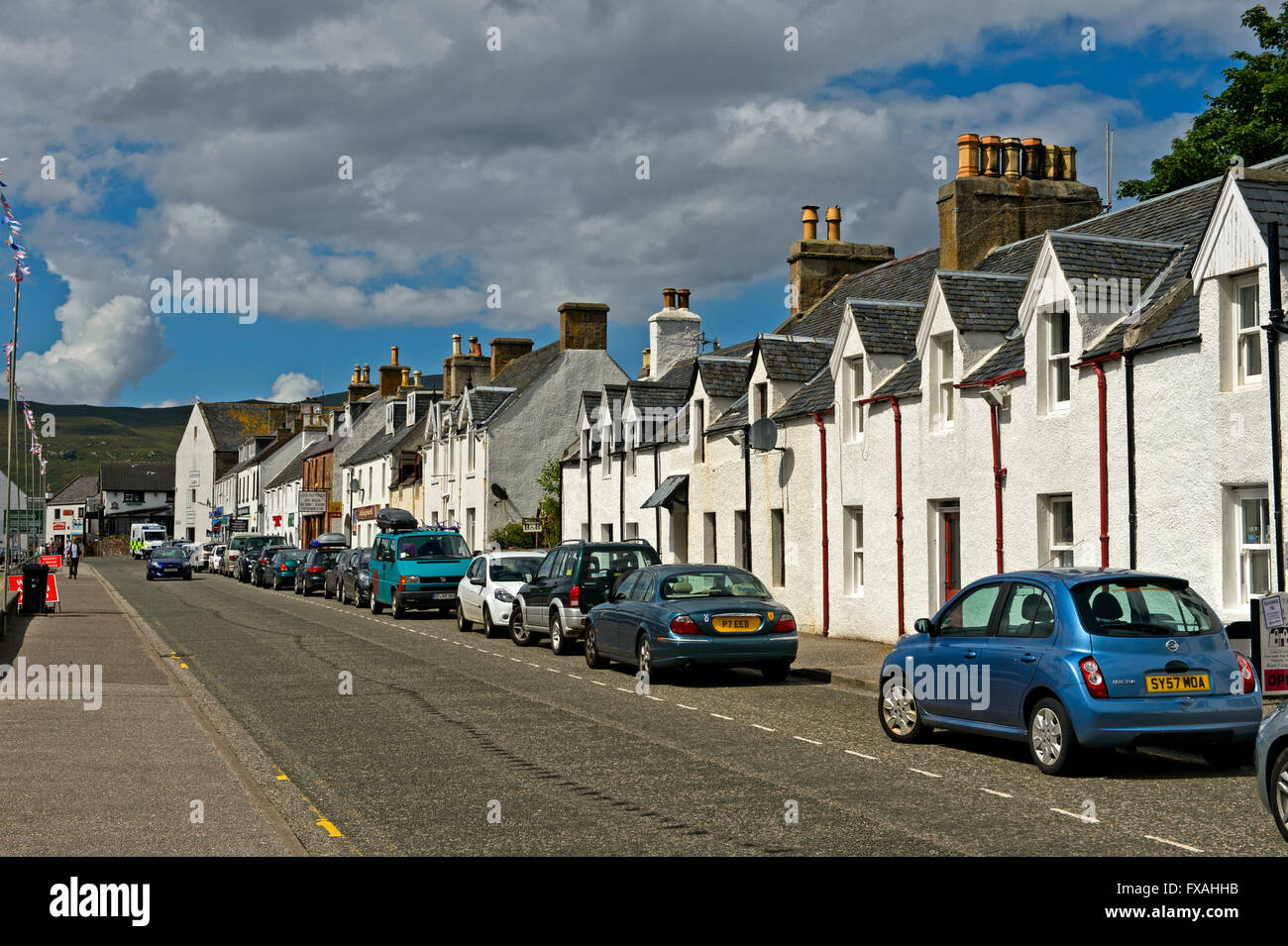 Row of houses in Shore Street, Ullapool, Ross-shire, Scotland, United Kingdom - Stock Image