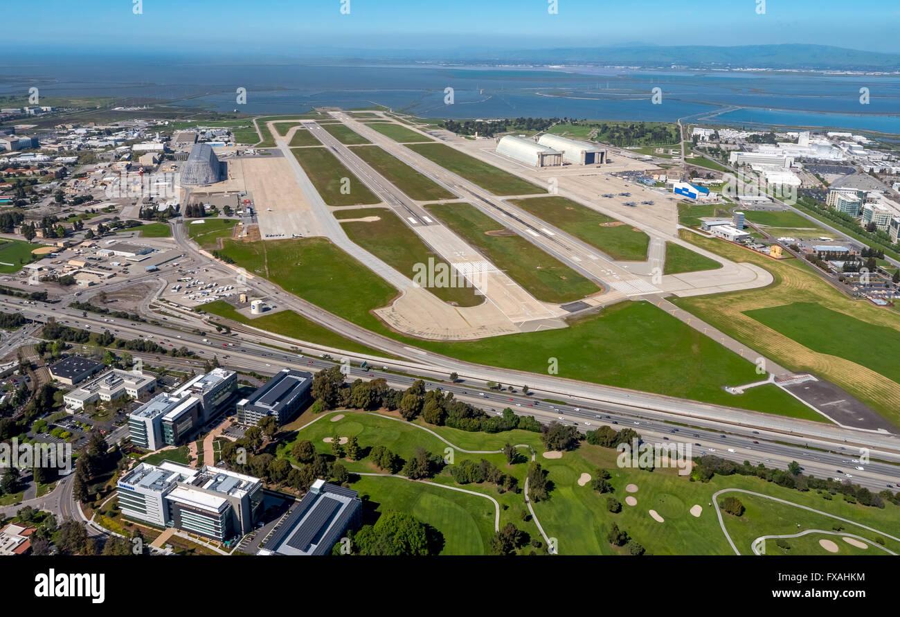 NASA Airfield Moffett Airfield, Silicon Valley, Santa Clara, California, USA - Stock Image