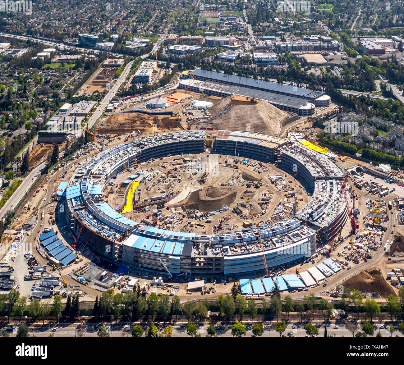 Huge construction site, office building Apple Campus II or Apple