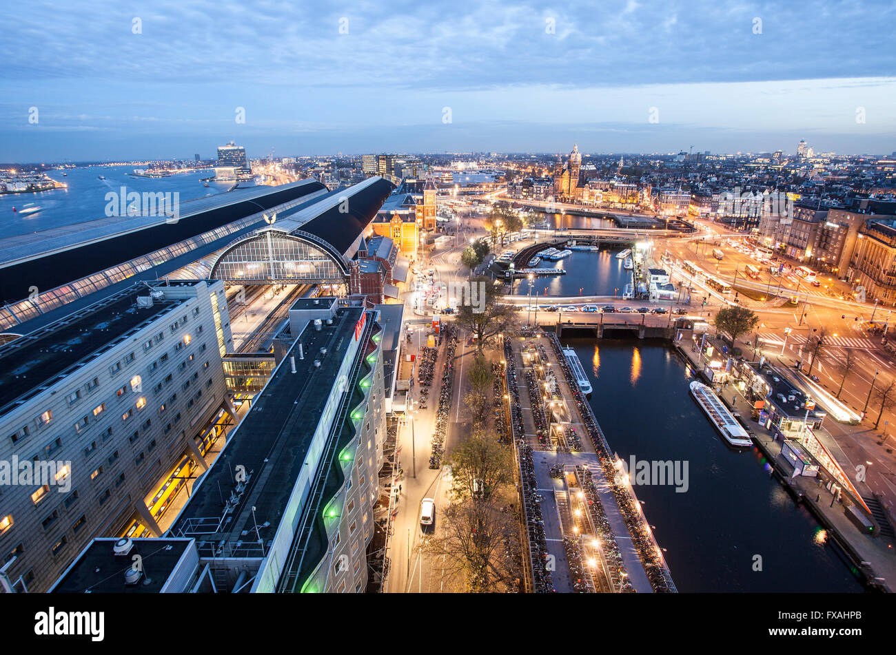 View of IJ, Centraal Station and historic centre, Amsterdam, Holland, The Netherlands - Stock Image