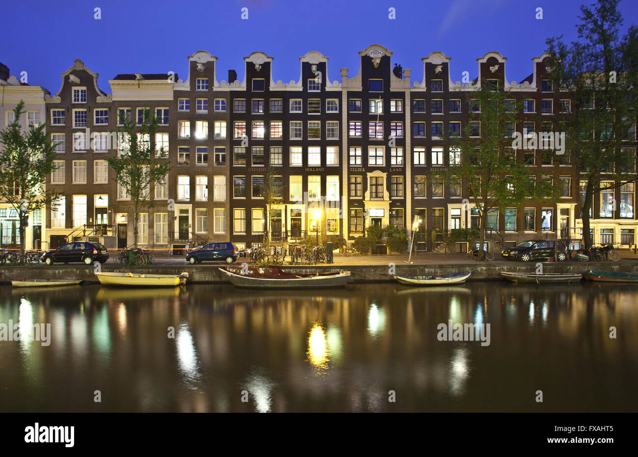 Canal houses, Prinsengracht, Amsterdam, Holland, The Netherlands - Stock Image