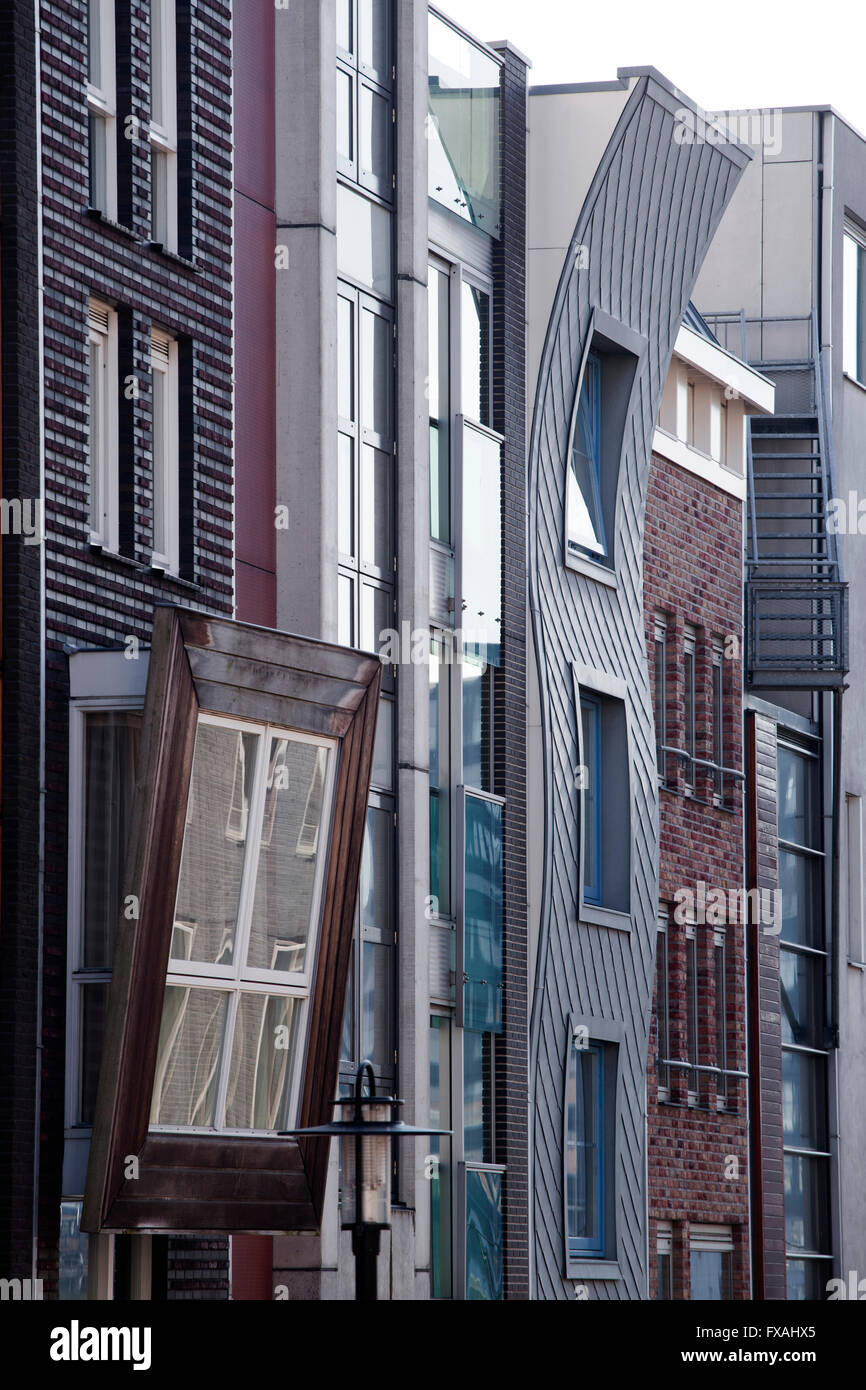 Row houses with differently designed fronts, Brantasgracht, Java Island or Java-eiland, Amsterdam, The Netherlands - Stock Image