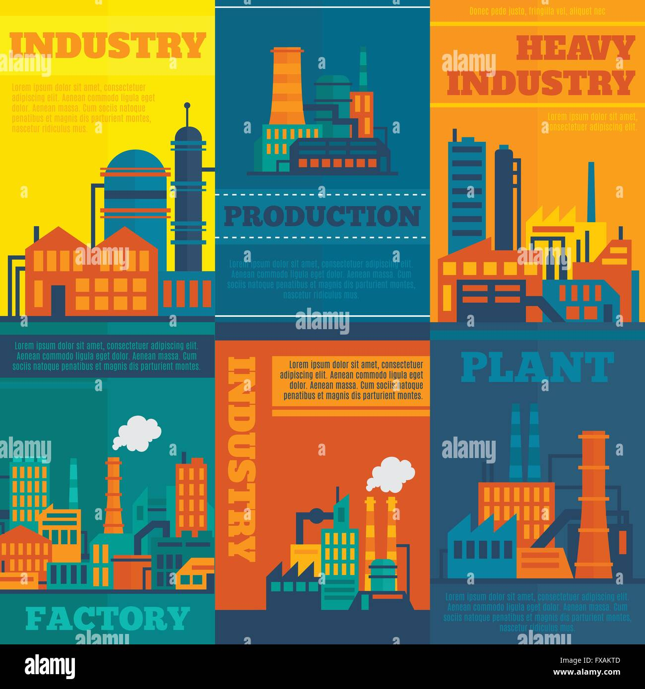 Industry poster set - Stock Image