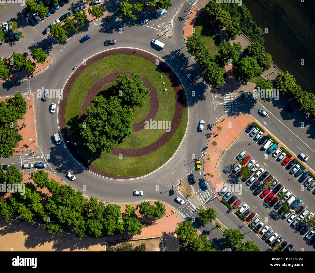 Aerial view, at the roundabout Av.Franca Sant Ponc, Girona, Costa Brava, Catalonia, Spain, Europe, Aerial view, - Stock Image