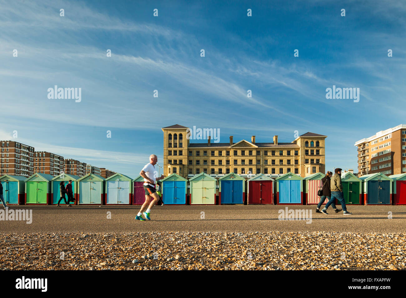 Colourful beach huts in Hove, East Sussex, England. - Stock Image