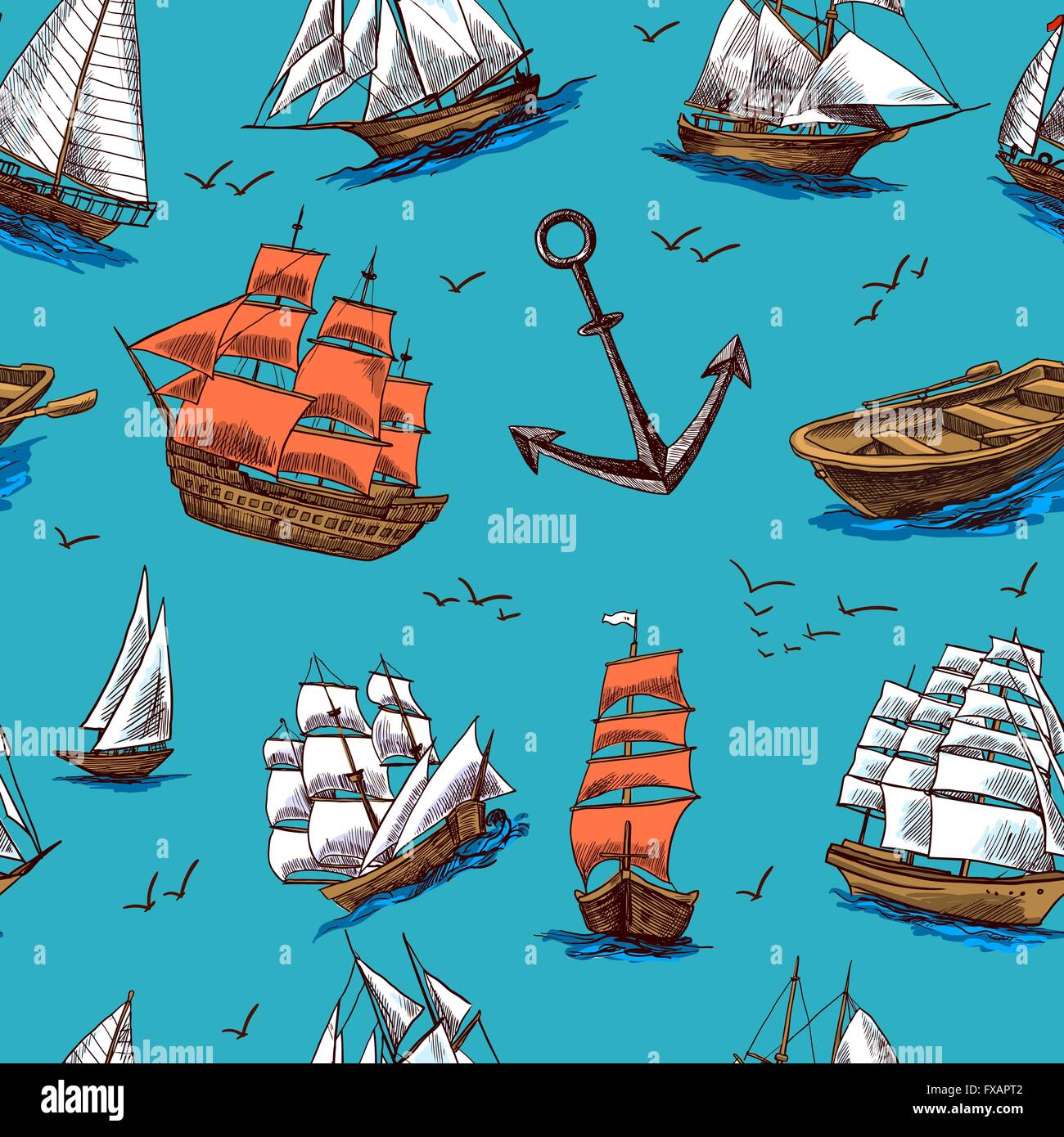 Ships and boats sketch seamless pattern - Stock Vector