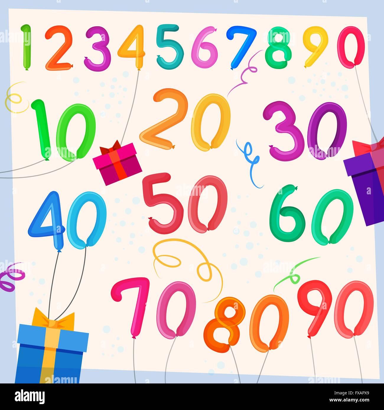 Anniversary balloons background - Stock Vector