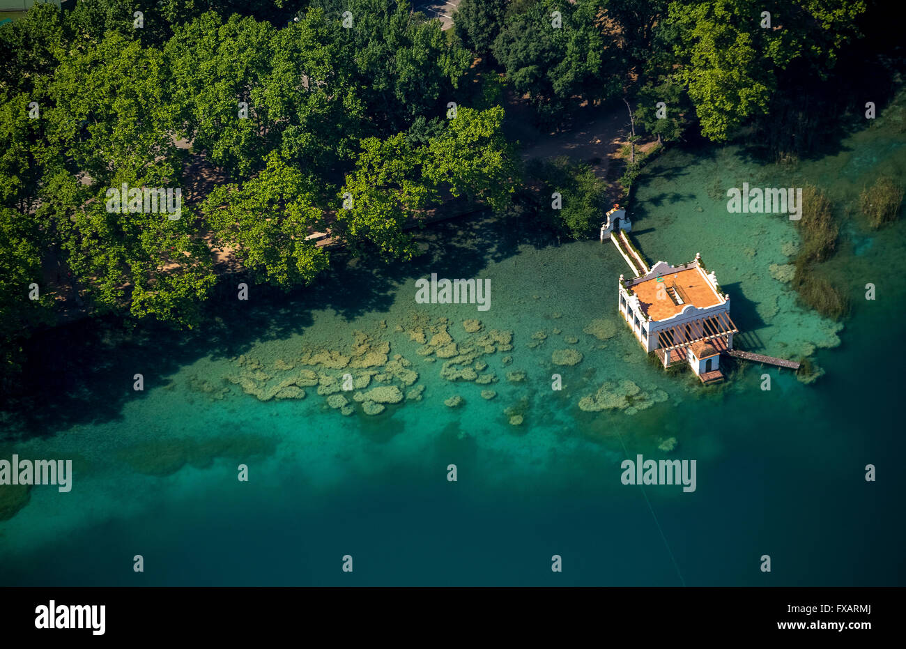 Aerial view, bathhouse in Banyoles Lake Banyoles, Costa Brava, Catalonia, Spain, Europe, Aerial view, birds-eyes - Stock Image