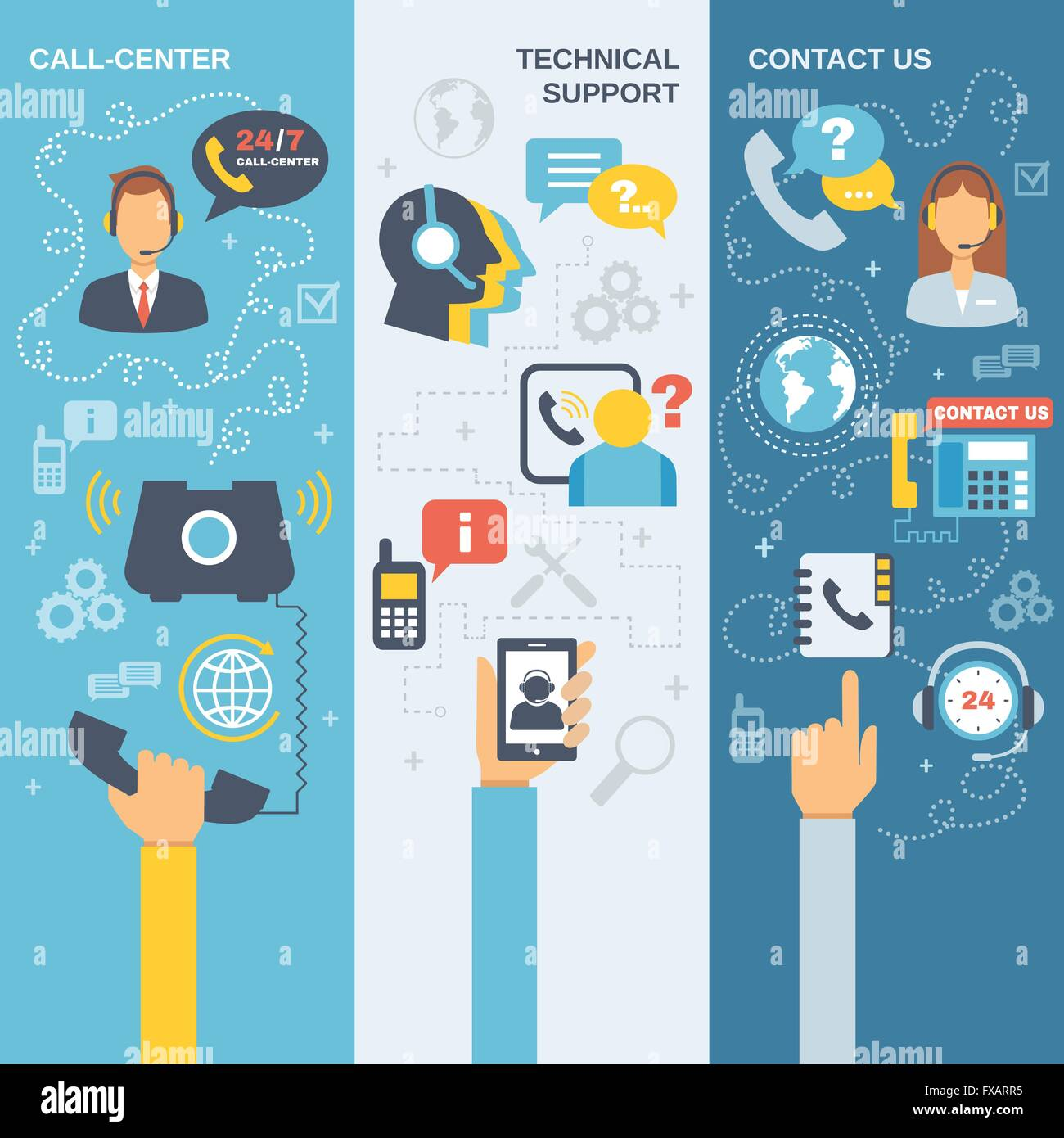 Support Call Center Banner - Stock Vector