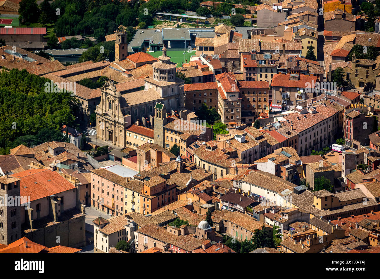 Old Town, Sant Antoni de Vic, Vic, Costa Brava, Catalonia, Spain Europe, aerial view, birds-eyes view, aerial view, - Stock Image